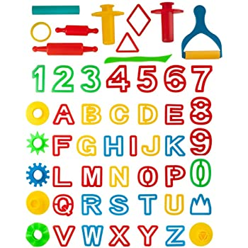 Kare and Kind Smart Dough Tools set of 32pcs with Dough tools and Capital Letters Assorted color Alphabet Capital letters Kare /& Kind KareKind-700253427936