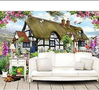 Wallpaper Murals Custom Wallpapers Gorgeous Pastoral English Country Cottage Rose Garden Children's Room Tv Backdrop Mural 3D Wallpaper,350x250cm