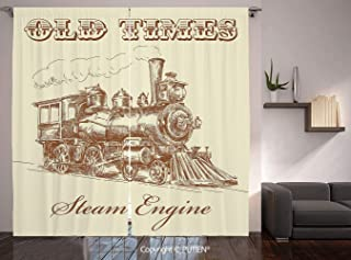 Thermal Insulated Blackout Window Curtain [ Steam Engine,Old Times Train Vintage Hand Drawn Iron Industrial Era Locomotive,Ivory Pale Caramel ] for Living Room Bedroom Dorm Room Classroom Kitchen Cafe