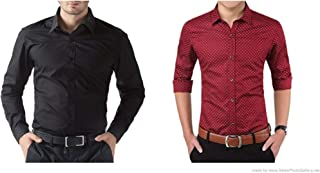 ZAKOD Combo of Plain and Polka Print Cotton Shirts for Men for Formal Use, Shirts,100% Pure Cotton Shirts,Available Sizes M=38,L=40,XL=42(Pack of 2)