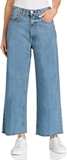 Women Casual Loose Fit Bootcut Jeans Wide Straight Leg Frayed Hem