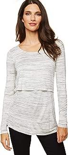 Motherhood Maternity Women's Maternity Long Sleeve Scoop Neck Lift Up Nursing Tee Shirt