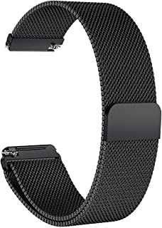 Robustrion Stainless Steel Milanese Loop Strap with Magnetic Lock for Fitbit Versa - Black