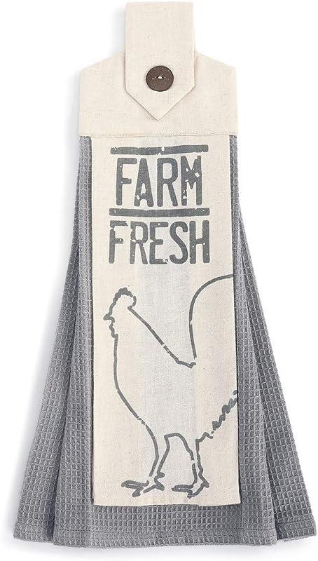 Farm Fresh Grey And Cream 20 X 6 Cotton Fabric Button Loop Dish Tea Towel