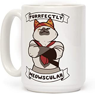 LookHUMAN Purrfectly Meowscular White 15 Ounce Ceramic Coffee Mug