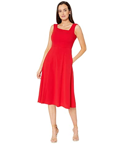 Donna Morgan Stretch Crepe Sleeveless Asymmetric Neckline Fit and Flare Dress (Red) Women