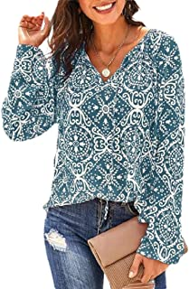 Women Chiffon Floral Print V Neck Long Sleeve Shirts Tops Loose Boho Blouses