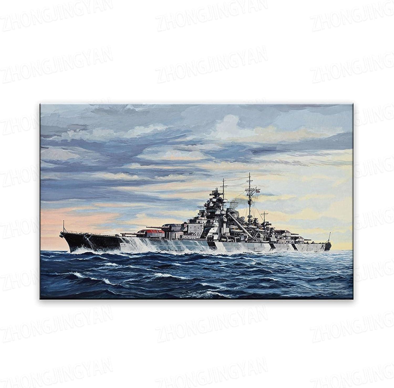 YOKOU Canvas Paintings Price reduction German Bismarck Prints Battleship Pos and New popularity