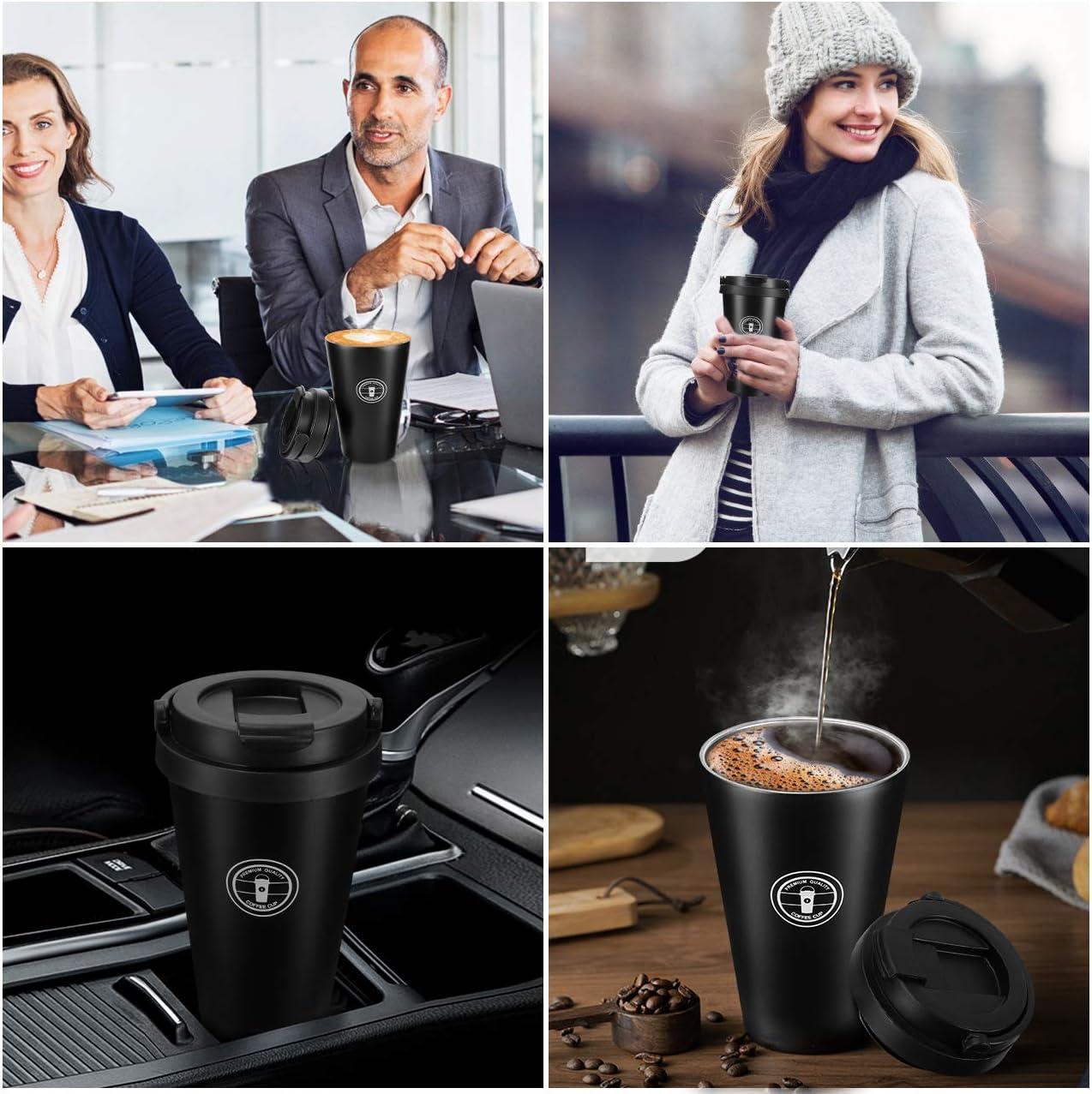 Gifort Tazza Termica da Viaggio 500ml Argento Thermos Isolato per caff/è in 304 Acciaio Inossidabile con Coperchio e Manico Tazza per caff/è da Viaggio Senza BPA per Bevande Calde e Fredde