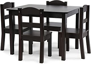 Tot Tutors Espresso Collection Kids Wood Table & 4 Chair Set, Espresso