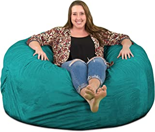 ULTIMATE SACK Bean Bag Chairs in Multiple Sizes and Colors: Giant Foam-Filled Furniture - Machine Washable Covers, Double Stitched Seams, Durable Inner Liner. (5000, Teal Suede)