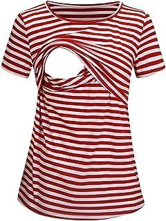 NINGSANJIN Damen Schwangerschaft Kleidung Stillshirt Langarmshirts Umstandsmode Stillshirt Stilltop Schwangere Maternity Streifen Sweatshirts Stilloberteile