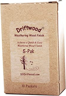 Driftwood 5 Pak Gray Wood Stain - Create a Driftwood Weathered Wood Finish on Unfinished Wood in Minutes; Mix with Water and Apply on Furniture, Floors, Feature Walls, Wood Frames