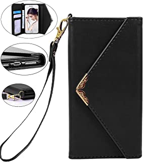 iPhone 8 Case, iPhone 7 Wallet Case, Crosspace Envelope Flip Handbag Shell Women Wallet PU Leather Slim Holster Magnetic Folio Cover with Card Holder Wrist Strap for Apple iPhone 8 iPhone 7 4.7