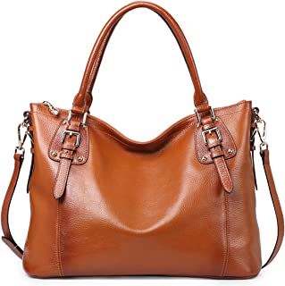Leather Tote Bag for Women, DAIZU Genuine Leather Handbags Vintage Purse, Soft Shoulder Bag Hobo Crossbody Bag, Large Capacity- Brown