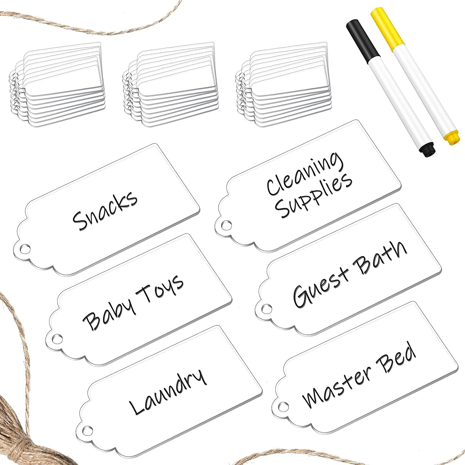 24 Pieces Basket Labels Acrylic Tags Basket Tags with 2 Pieces Mark Pens Labels for Storage Bins Bin Clip Labels for Baskets Kitchen Office Present Boxes Message Tags (Clear)