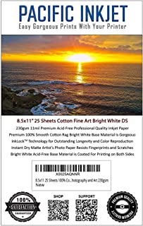 8.5x11 25 Sheets 100% Cotton Fine Art Matte Bright White Double Sided Inkjet Paper – Professional Paper for Use with Inkjet Printers – Printer Paper for Photography and Art 230gsm