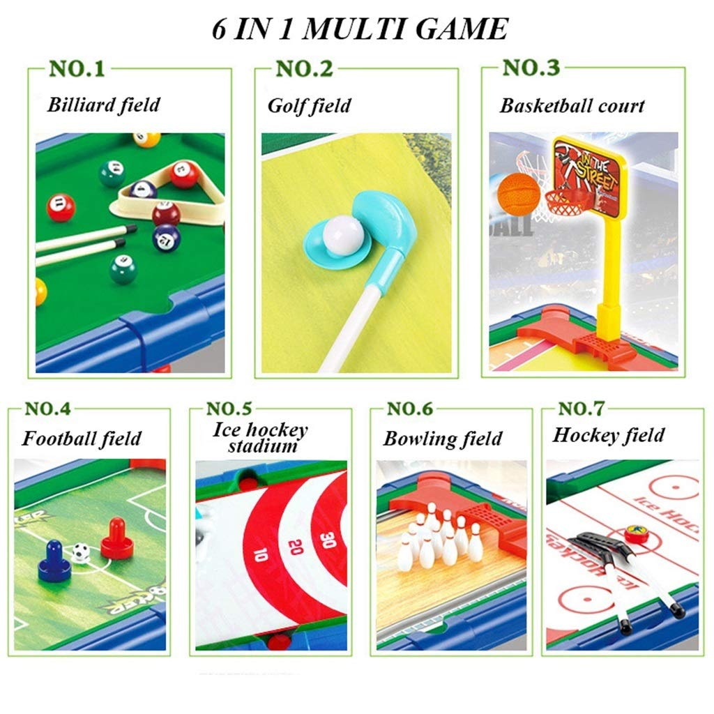 LCRACK Combo de Mesa de Juegos Multideporte 7 en 1, Incluye: Billar Golf Baloncesto fútbol Hockey sobre Hielo Bolos Hockey (Color : L): Amazon.es: Deportes y aire libre