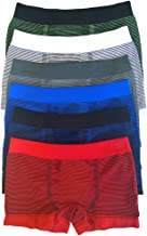 ToBeInStyle Boy's Pack of 6 Seamless Boxer Briefs Thin Stripes
