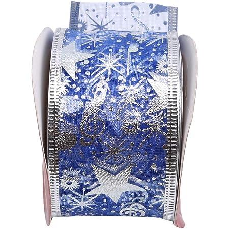 6M Argent Bordure D/écorations Sapin De Noel Bleu 236 Creux Flocon De Neige Tulle Rubans Ornement