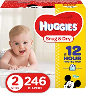 Huggies Snug and Dry Diapers, Size 2, Economy Plus Pack, 246 Count (One Month Supply)
