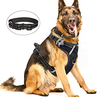 WINSEE Dog Harness No Pull, Pet Harness with Dog Collar, Adjustable Reflective Outdoor Vest, Front/Back Leash Clips for S, M, L, XL Dogs, Easy Control Handle for Walking