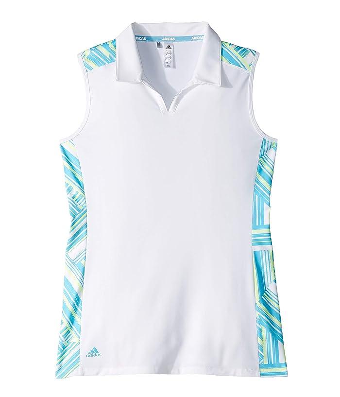 adidas Golf Kids  Novelty Sleeveless Polo (Big Kids) (White/Bright Cyan) Girls Sleeveless