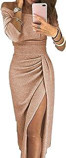 RVXZV SillyqZ Vestido Midi de Mujer Elegante Ahuecado en un Hombro con Abertura Lateral Bodycon Fiesta Cena Ropa Clubwear