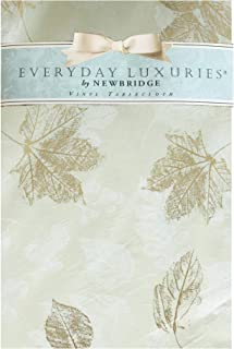 "Newbridge Metallic Autumn Leaves Vinyl Flannel Backed Tablecloth - Contemporary Golden Leaf Print Thanksgiving Kitchen Dining Room Print Easy Care Print Tablecloth, 70"" Round, Ivory"
