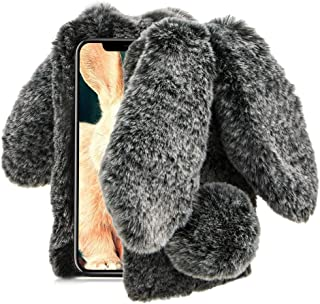 Aearl iPhone XR Case,iPhone XR Rabbit Fur Ball Case,Luxury Cute 3D Homemade Diamond Winter Warm Soft Furry Fluffy Fuzzy Bunny Ear Plush Back Phone Cover for Girls Women-Black(iPhone XR 6.1 inch 2018)