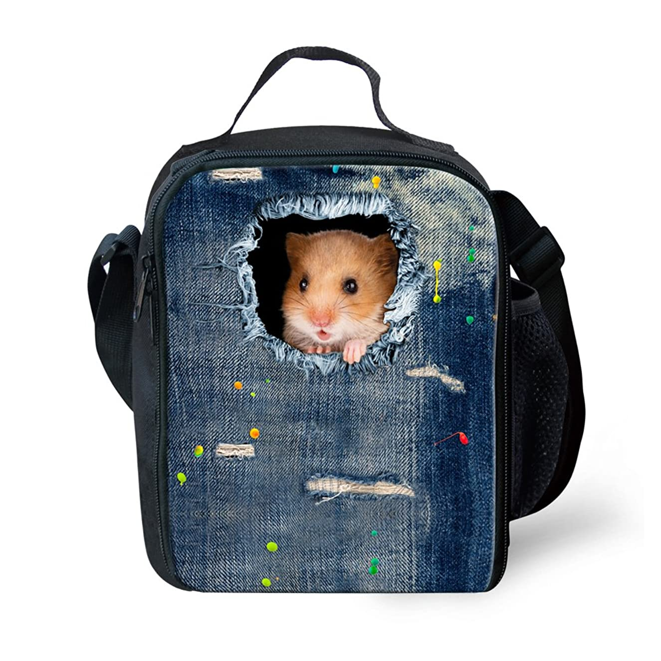 HUGS IDEA Vintage Blue Denim Thermal Insulated Lunch Bags Cute Animal Mouse Printed Box