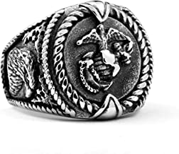Adisaer 21.24MM Fashion Simple Mens Stainless Steel Rings Animals Eagle Silver Motorcycle Cool Jewelry-