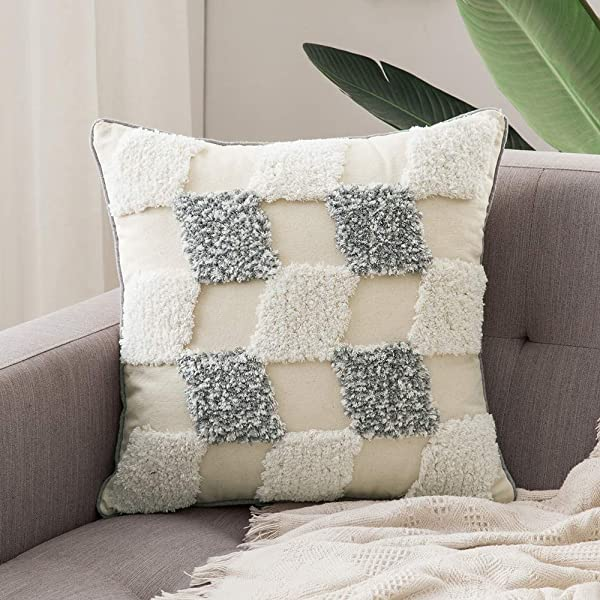MIULEE Decorative Throw Pillow Cover Tribal Boho Woven Tufted Pillowcase Checker Pattern Super Soft Pillow Sham Cushion Case For Sofa Couch Bedroom Car Living Room 18X18 Inch Grey White