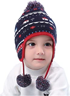 LLmoway Baby Toddler Infant Knit Hat Earflap Beanie Cotton Hat Warm Pom Cap