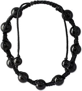 NOVICA Hand Knotted Black Onyx Shambhala Style Bracelet, Oneness'
