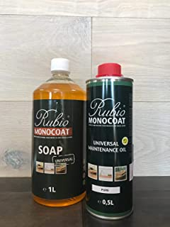 Rubio Monocoat Product Combo: Universal Maintenance Oil and 1L Natural Soap (2 Products)