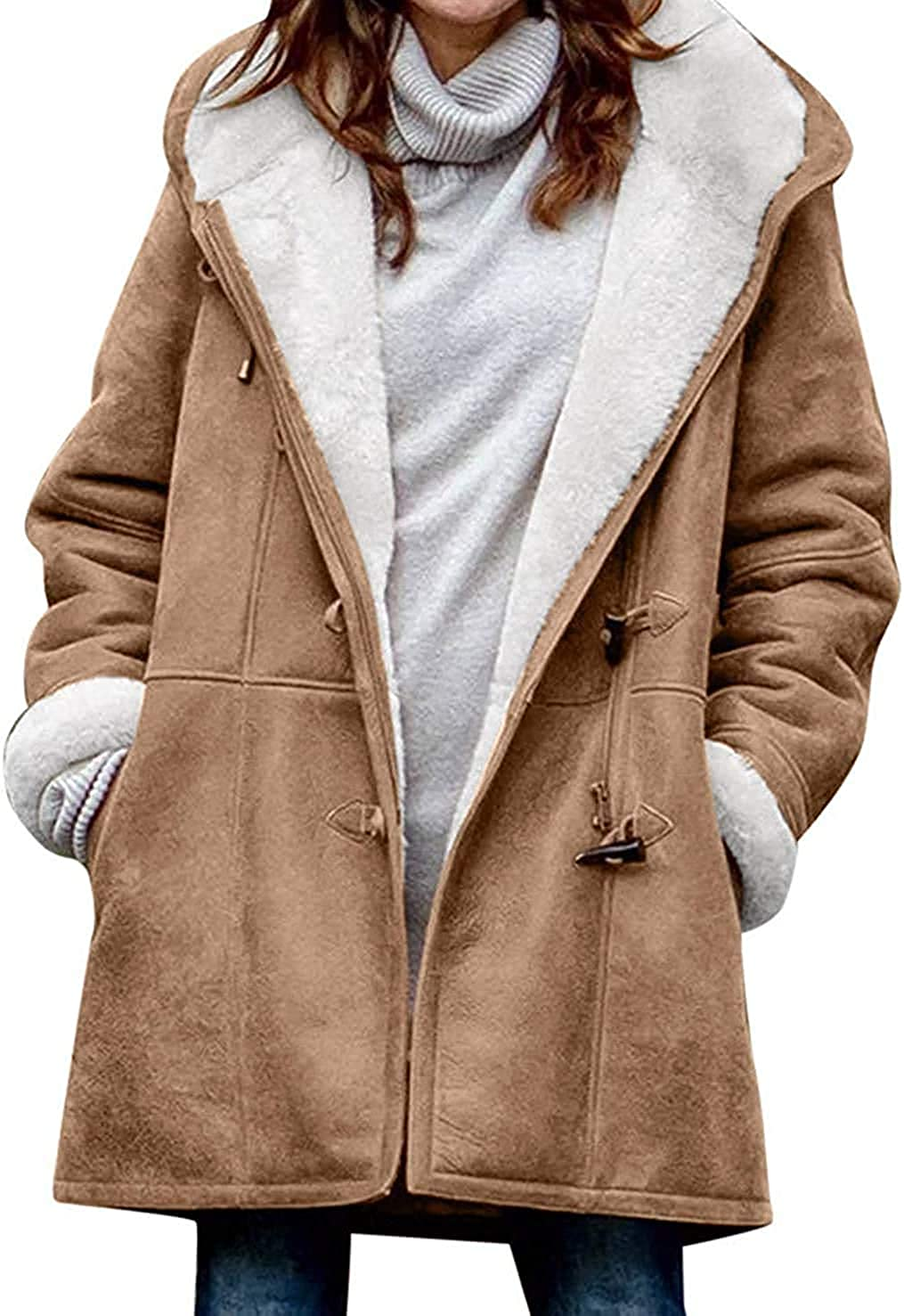 chouyatou Women's Winter Warm Sherpa Lined Suede Leather Longline Coat with Horn Buttons