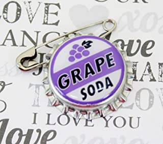 Ellie Badge Grape Soda Pin - LP - Personalized - Bottle Cap - Wedding Groom Gift