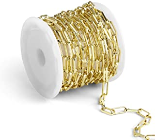 12 Feet Gold Chain for Jewelry Making 14K Gold Plated Paperclip Chain Oval Link Chain Bulk for DI
