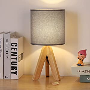 HAITRAL Small Bedside Table Lamp - Wooden Tripod Nightstand Lamp for Bedroom, Living Room, Office, Farmhouse, Home with Fabric Shade, Grey
