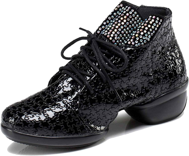 TDA Women's Stylish Round Toe Lace-up Leather Rhinestone Ballroom Moderm Square Latin Dancing shoes