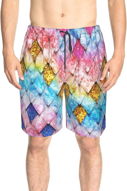 Mens Swim Trunks Mermaids Scales Swim Board Shorts Drawstring Elastic Athletic Beach Short with Liner