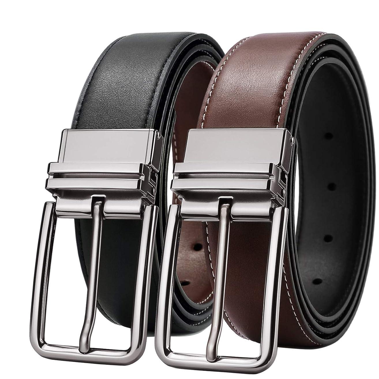 SOPONDER Belts for Men Black and Brown Leather Belts Big and Tall Black and Silver Silver Buckles Dress Belts All Sizes