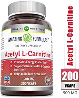 Amazing Nutrition Amazing Formulas Acetyl L-Carnitine Hcl Veggie Dietary Supplement - 500mg, 200 Vegetarian Capsules Per Bottle - Promotes Energy Production, Supporting Brain Heath &Cognitive Function