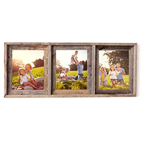collage frame holds 3 photos blues Distressed wood picture frame triple 8x10 double mat