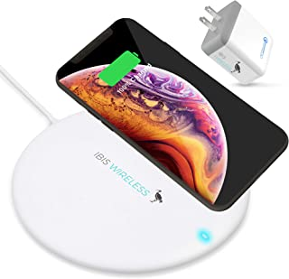 IBIS Wireless 10W Fast Wireless Charger Pad - Qi Certified 7.5W Wireless Charging Compatible with iPhone Xs MAX/XR/XS/X/8/8 Plus Galaxy S10/S9/S8 Note 9/8 Wireless Charging Pad Plus QC 3.0 Adapter