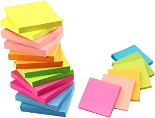 Sohapy Stickies Sticky Notes Pads Notebook Self-Stick Sticky Supplies for Home Office School 1200 Sheet 12 Pads Bright Col...
