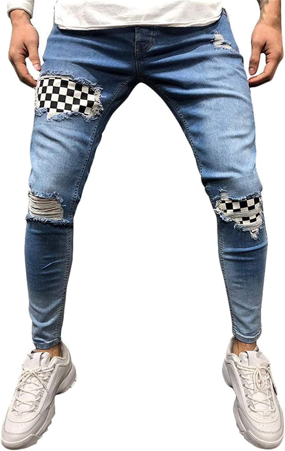 Outstanding Andongnywell Free Shipping Cheap Bargain Gift Men's Skinny Moto Biker St Ripped Destroyed Fashion