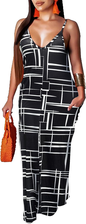 Runwind Plus Size Maxi Dress for Women - Sexy Long Spaghetti Strap with Pockets