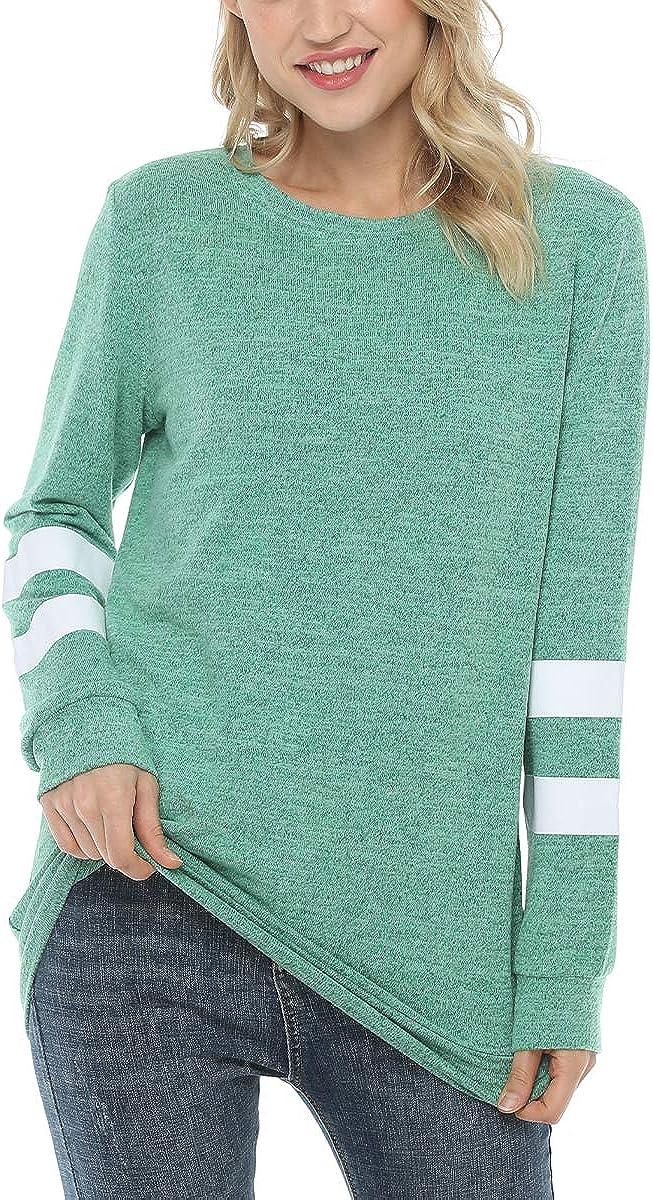 QANSI Womens Sweatshirts Tops Crewneck Long Sleeve Hoodies Oversized Loose Striped Sweaters Tunics